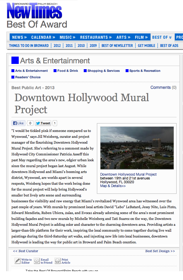 New Times Best of Award Downtown Hollywood Mural Project